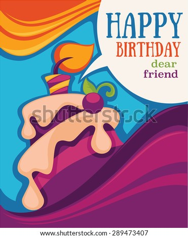 vector background with image of birthday cake, candle and speech bubbles - stock vector