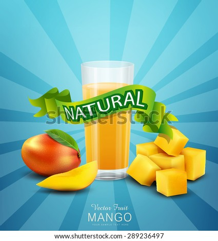 vector background with mango and glass of mango juice - stock vector
