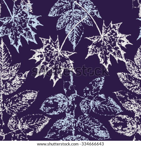 Vector  background with maple and ash leaves ice pattern.  Seamless pattern. - stock vector