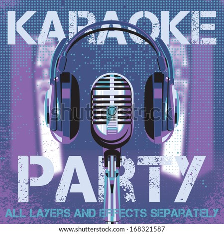 vector background with microphone and headphones for karaoke party - stock vector