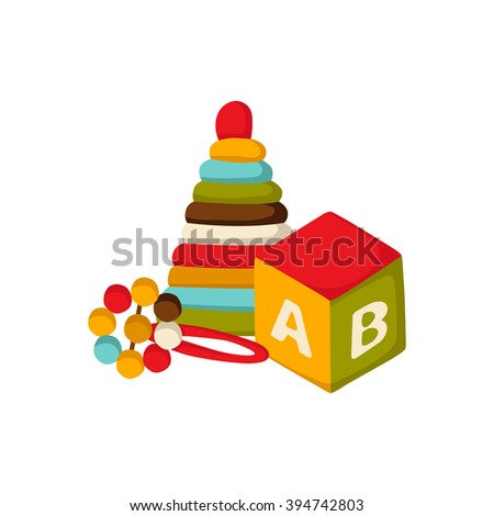 Vector background with newborn or children toys: cube with alphabet, beanbag, pyramid in cute cartoon style. Newborn goods concept. Pattern for children book or package design. Newborn background - stock vector