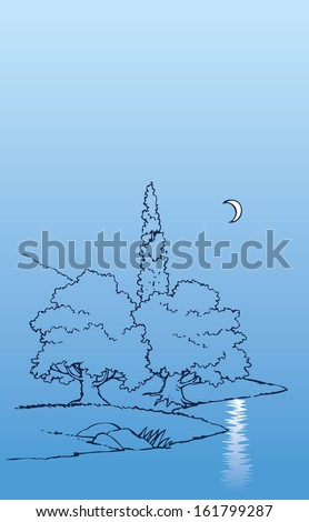 Vector background with night landscape. The trees above the river, which reflects the moonlit path of the crescent - stock vector