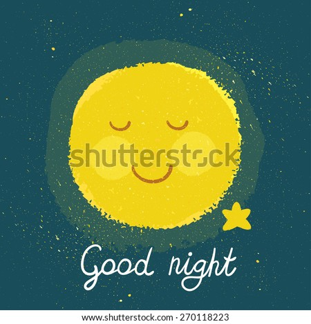 """Vector background with night sky, sleeping smiling moon and star. Childish card with hand written text """"Good night"""" - stock vector"""