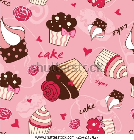 Vector background with of cake in retro style. Seamless pattern. - stock vector