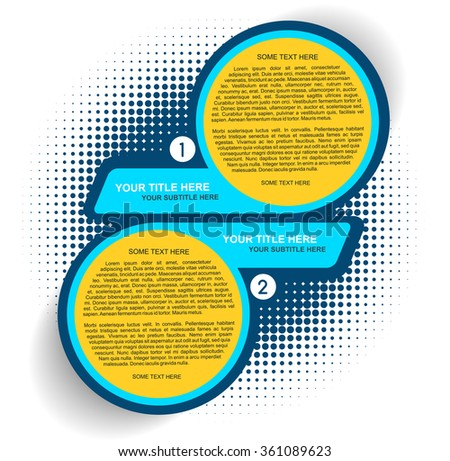Vector background with one two steps - options scheme with halftone effect - stock vector