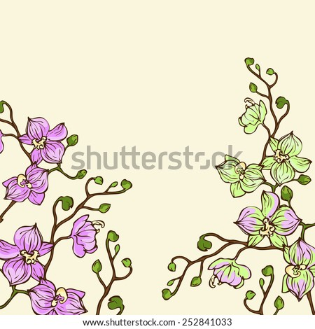 Vector background with pink and green orchid flowers  - stock vector