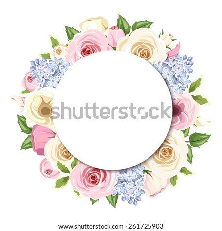 Vector background with pink and white roses and lisianthus flowers, blue lilac flowers and green leaves. - stock vector