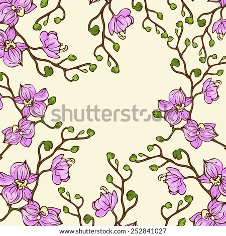 Vector background with pink orchid flowers  - stock vector