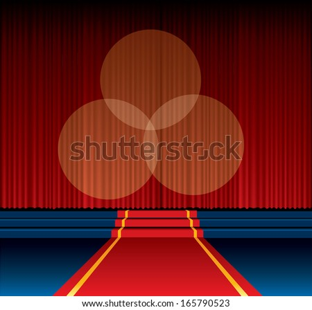 vector background with red carpet way to stage - stock vector