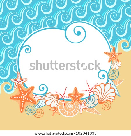 Vector background with sea, golden sand, seashells, starfish and the banner. Stylized coastline. Vintage colorful abstract illustration with concept of seaside resort, vacation, diving - stock vector