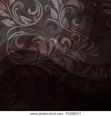 vector background with seamless floral pattern in grey, beige,  eps10, gradient mesh, clipping mask - stock vector