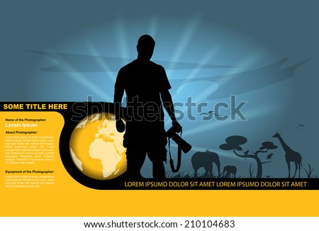 Vector background with silhouette of the photographer and wildlife in the background.  - stock vector