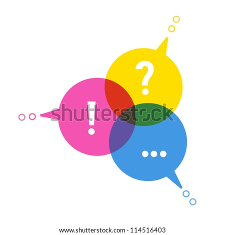 Vector background with speech bubbles in form chart cmyk color. Abstract illustration for web template. Social media concept of communication, connect, exchange of information, search for compromise - stock vector