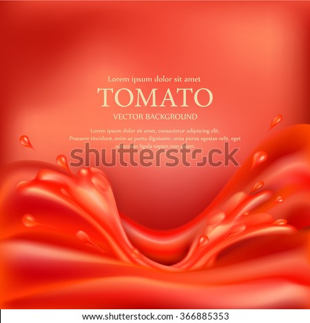vector background with splashes, waves of red tomato juice - stock vector