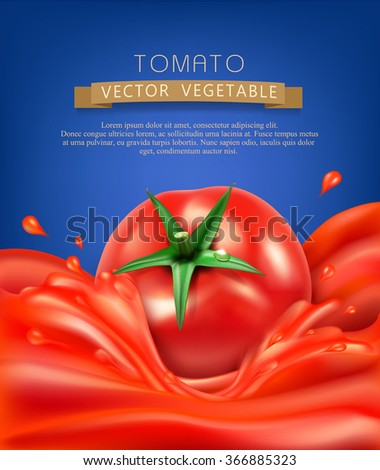 vector background with splashes, waves of red tomato juice and tomato. isolated on blue background - stock vector