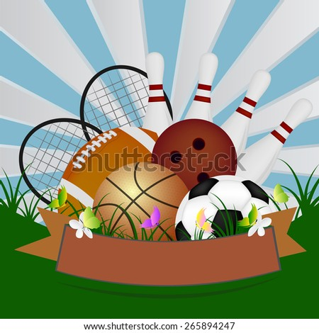 Vector background with sport equipment - stock vector