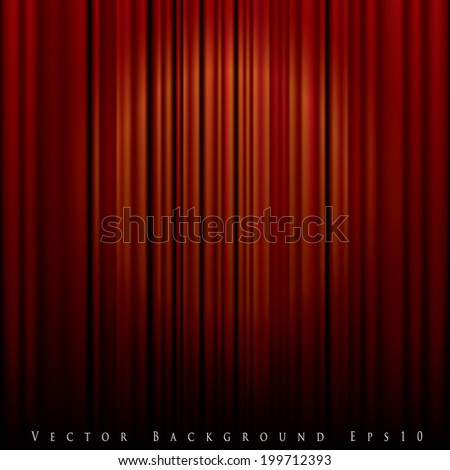 vector background with spot light on red curtain - stock vector