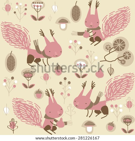 vector background with squirrels - stock vector