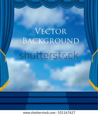 vector background with stage and sky - stock vector