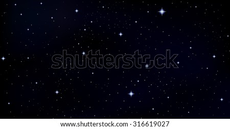 Vector background with stars, constellations, galaxies in outer space - stock vector