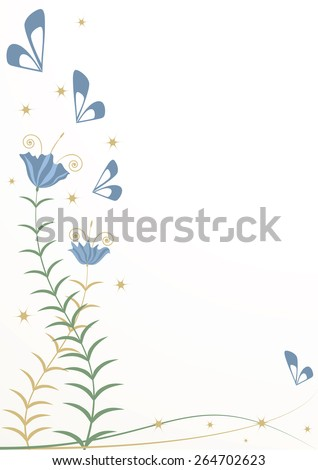 vector background with stylized flowers and butterflies - stock vector