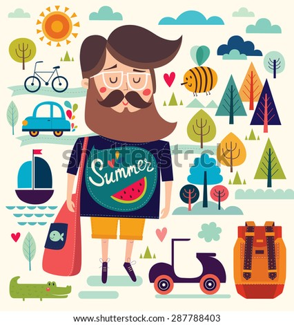 Vector background with summer symbols: hipster man, sailboat, bee, motorbike, trees, crocodile. Cartoon pattern - stock vector