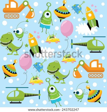 Vector background with toys for boys - stock vector