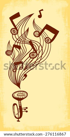 Vector background with trumpet, music staff and notes. Vertical composition. - stock vector