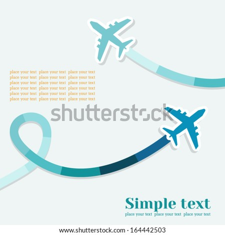 Vector background with two jets and colored trace of them. There is space for text. - stock vector
