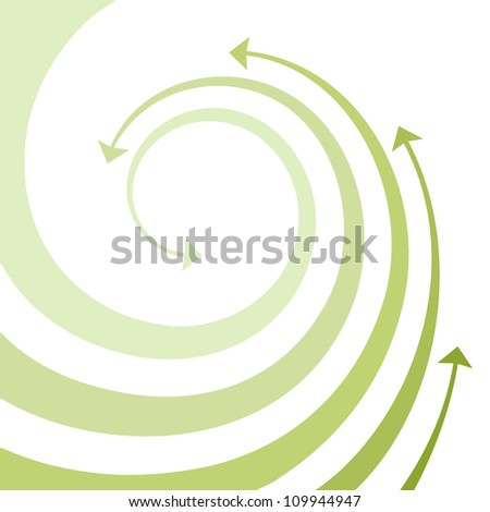 Vector background with wave of green twisted arrows. Abstract illustration with concept of movement, ecology and environment with space for text. Simple design element for print and web - stock vector
