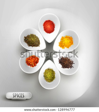 vector background with white bowl on the table, the filling of spices - stock vector