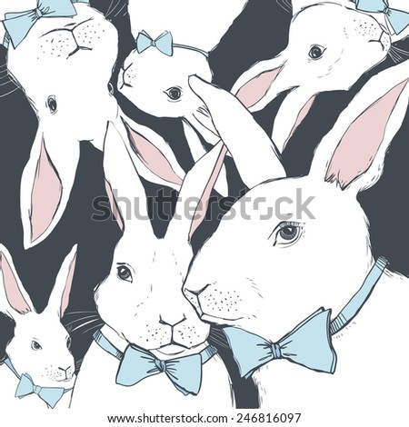 Vector background with white rabbits. Hand-drawn easter bunny collection. - stock vector