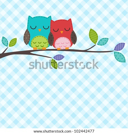 Vector backgrounds with couple of owls on the branch - stock vector