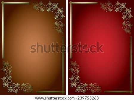 vector backgrounds with golden decorative frames - stock vector
