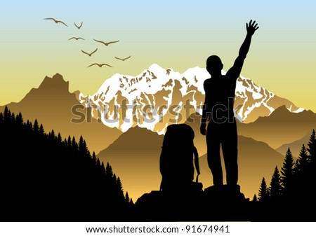 Vector Backpacker in Morning  Mountains - stock vector
