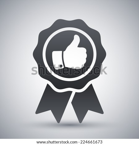 Vector badge with thumbs up icon - stock vector