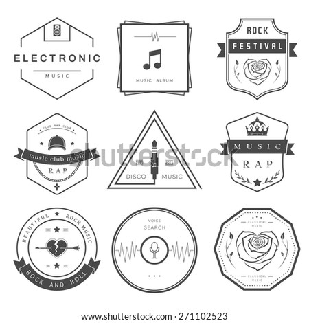Vector badges rock music, rap, classical and electronic music. Vector logos festivals and concerts, elements of web design and voice search, prints for T-shirts. - stock vector