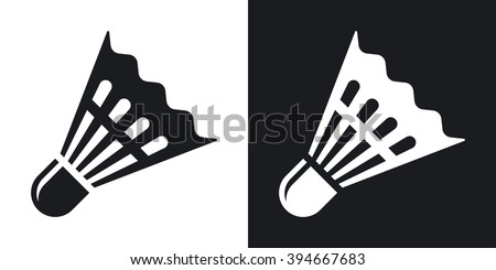 Vector badminton shuttlecock icon. Two-tone version on black and white background - stock vector