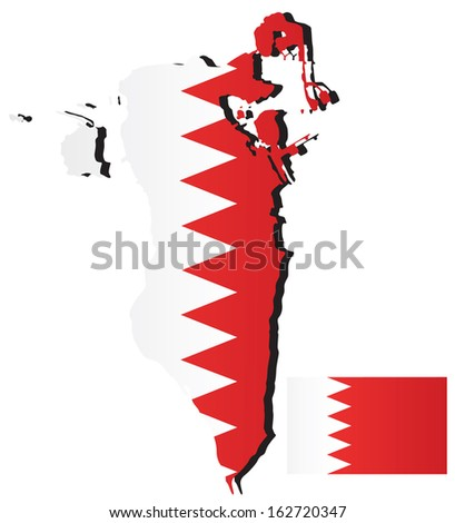 Bahrain Map Vector Vector Bahrain Map With Flag