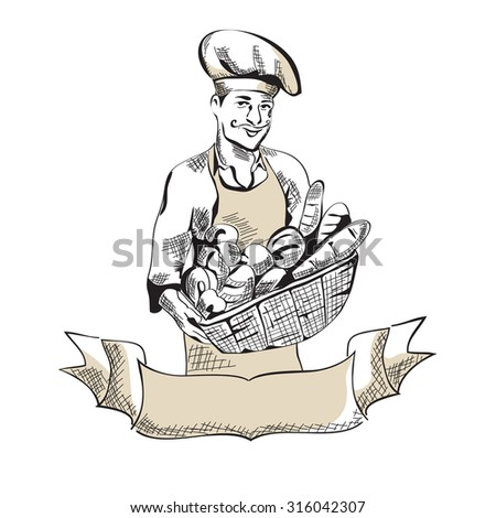 Vector Baker man with bread - stock vector