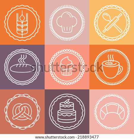Vector bakery and pastry emblems and icons in outline style - abstract logo design elements - stock vector
