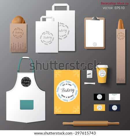 Vector bakery corporate branding identity template design set. Take away mock up  - stock vector