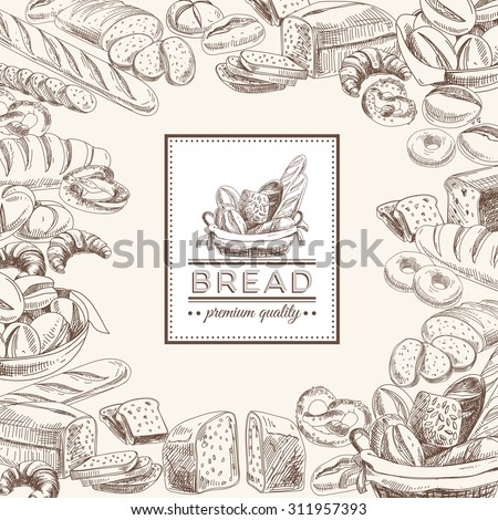 Vector bakery retro background. Vintage Illustration with bread. Sketch. - stock vector
