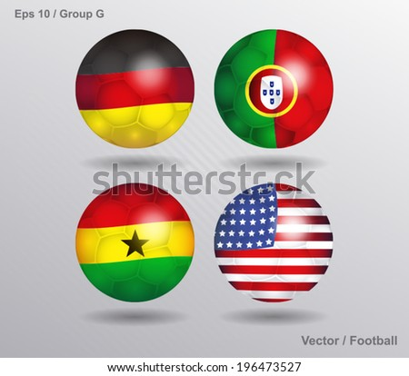 vector ball with flags - Group G  - stock vector