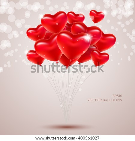 Vector balloons in the form of hearts on a light background. - stock vector
