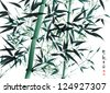 Vector Bamboo Ink Painting Translation: Wellbeing - stock vector