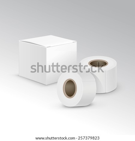 Vector Bandage Plaster Aid Band Medical Adhesive Insulating Tape Set Isolated on White Background - stock vector