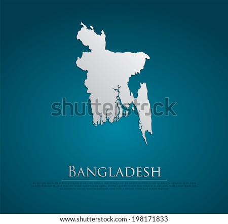 vector Bangladesh Map card paper on blue background, high detailed - stock vector