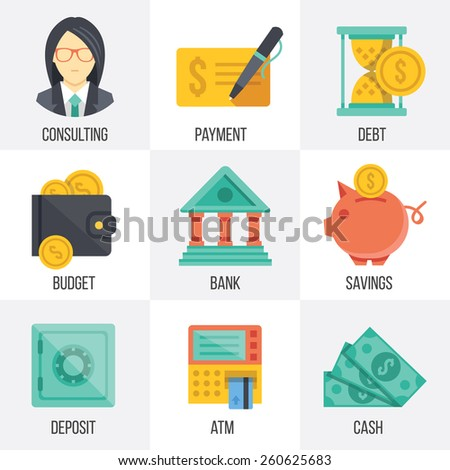 Vector banking and finance icons set. Flat design. Isolated on white background. Set 3. - stock vector