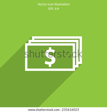 Vector banknotes with dollar sign web flat icon. - stock vector